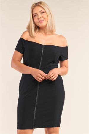 Plus Size Fitted Off-the-shoulder Front Zipper Bodycon Mini Dress