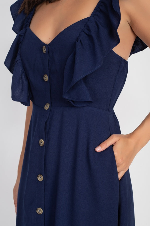 Button Front Ruffle Midi Dress