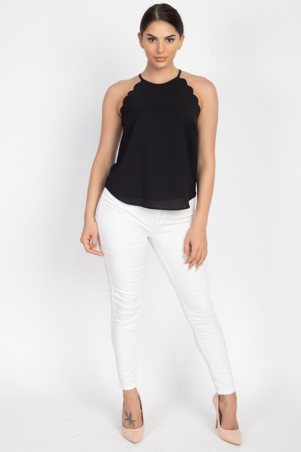 Halter Neck Scallop Top