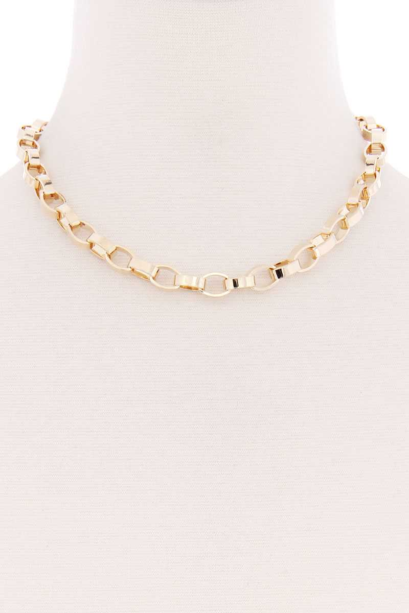Oval Metal Thick Chain Necklace