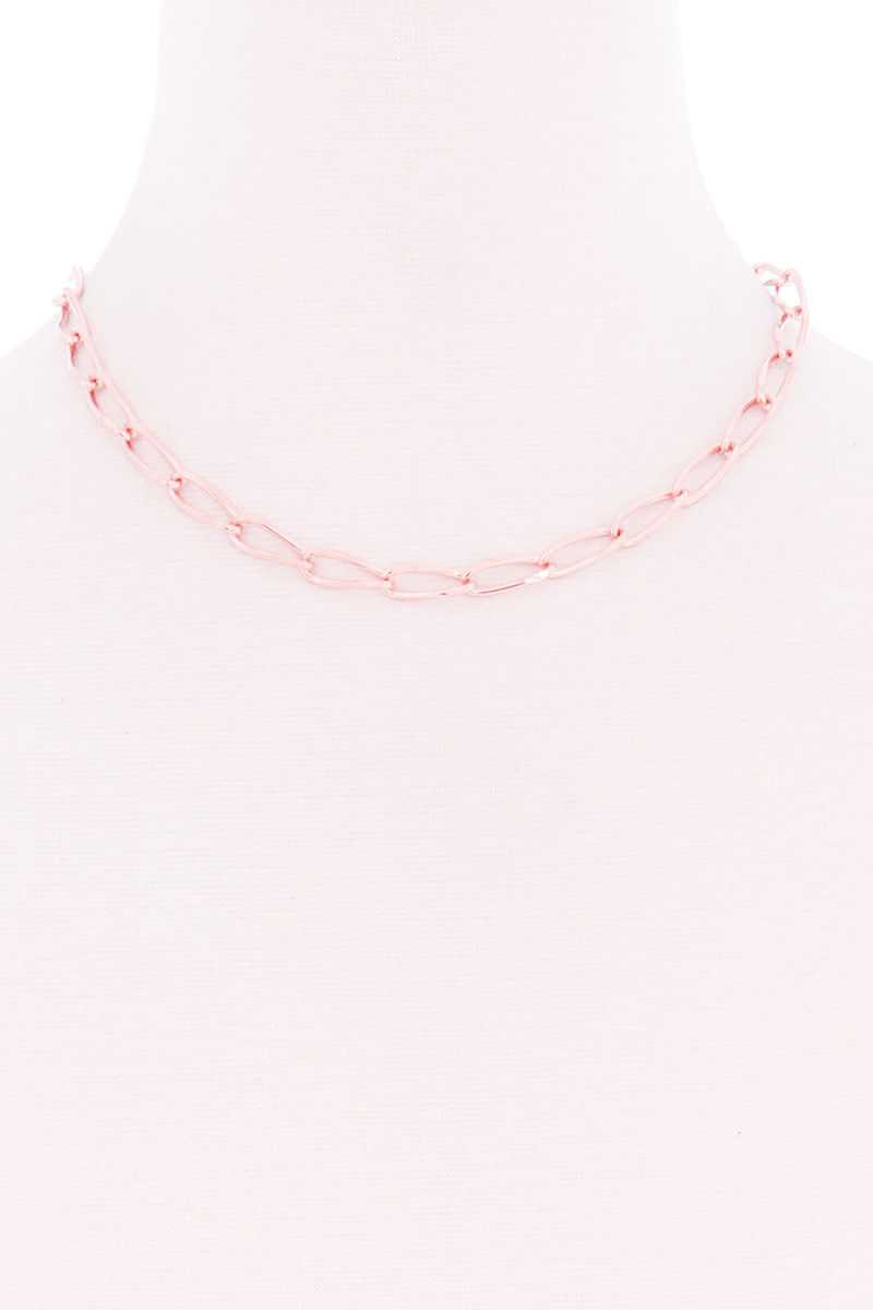 Oval Chain Single Metal Necklace