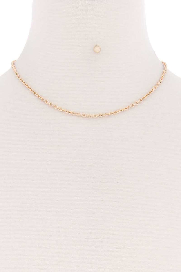 Basic Simple Metal Chain Single Necklace