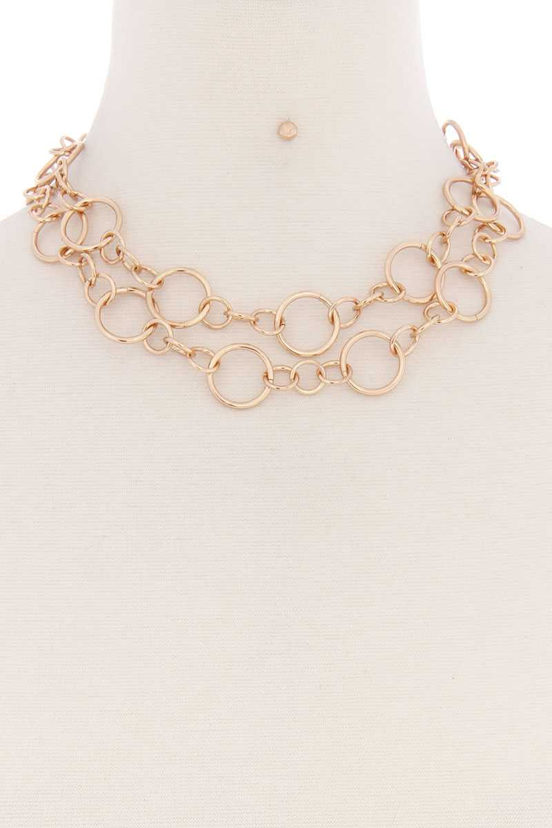 Multi Metal Ring Chain Necklace