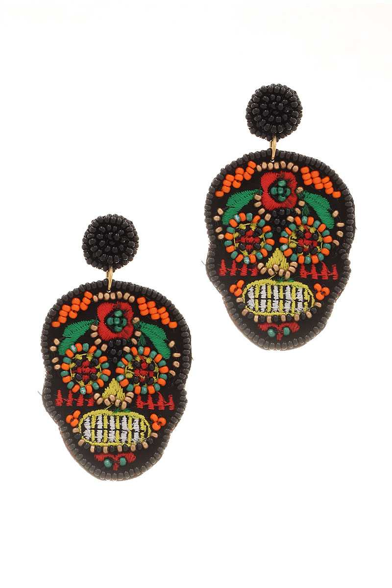Day Of The Dead Seed Beaded Skull Earring
