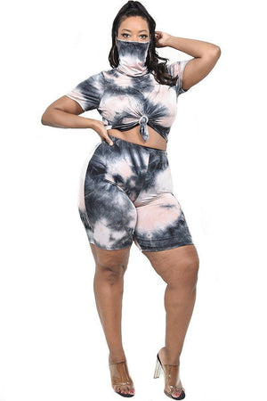 Plus Tie-dye 2 Piece Short Set
