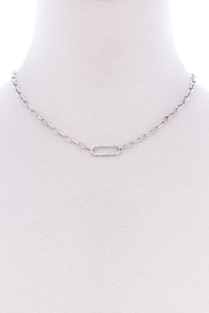 Stone Oval Point Metal Chain Necklace