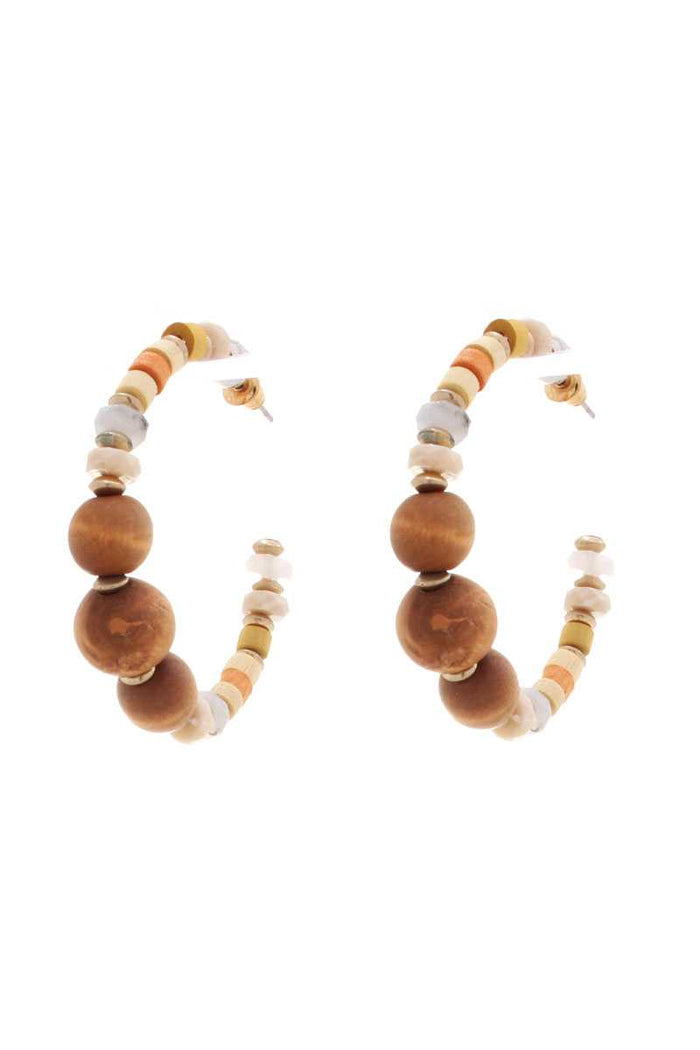 Wood Bead Open Hoop Earring