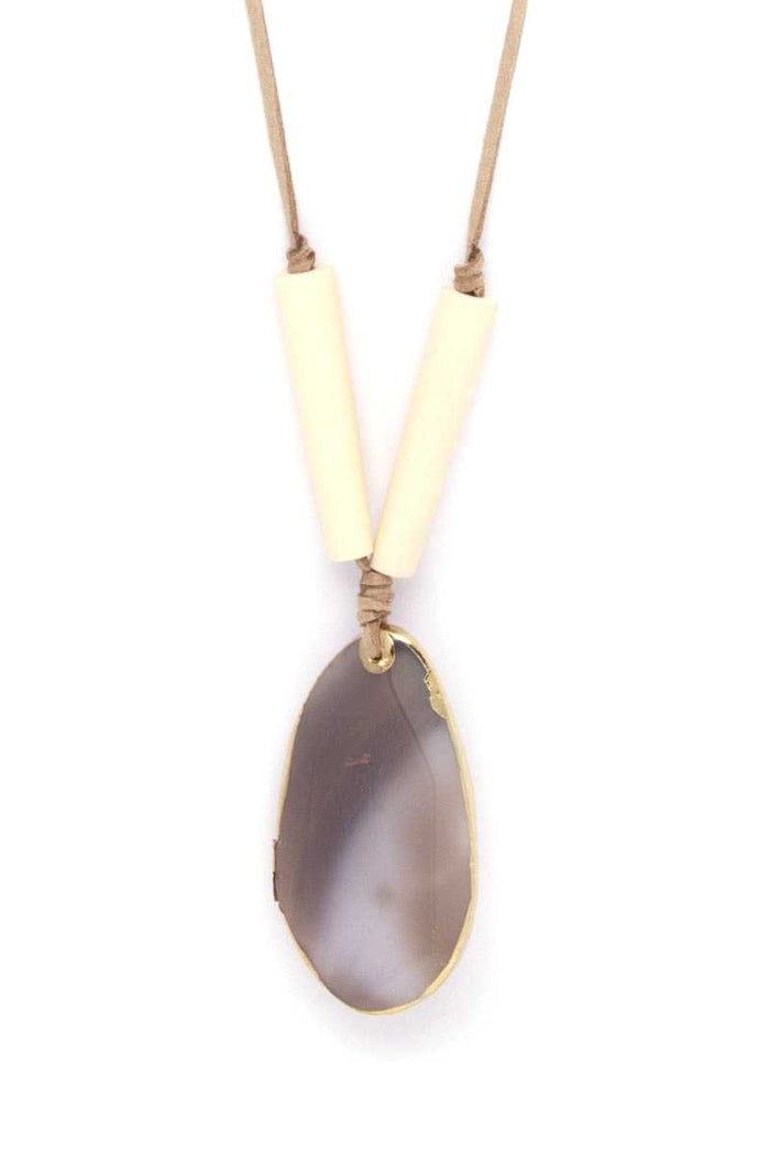 Natural Stone Pendant Suede Necklace