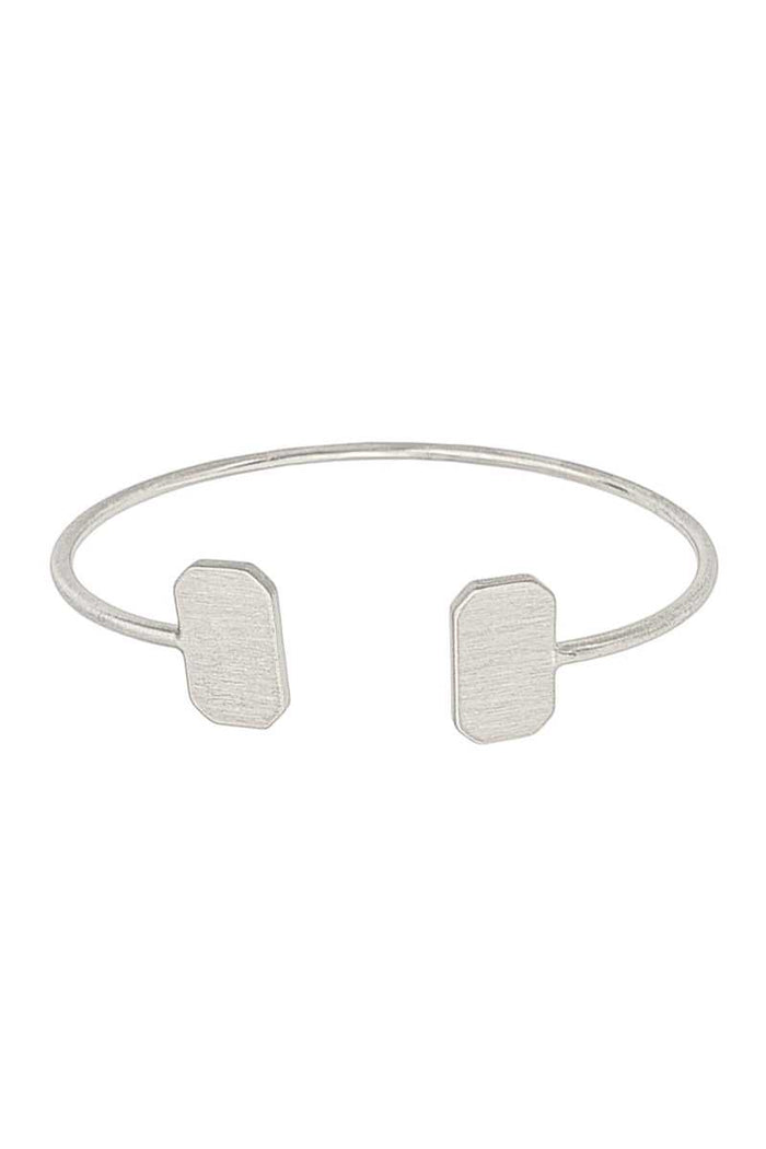 Double Metal Rectangle Open Bangle Bracelet