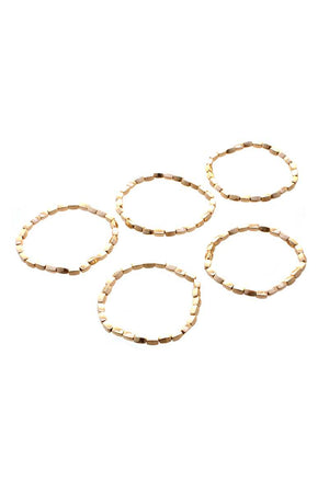 Metal Bead Stretch 5 Pc Bracelet Set