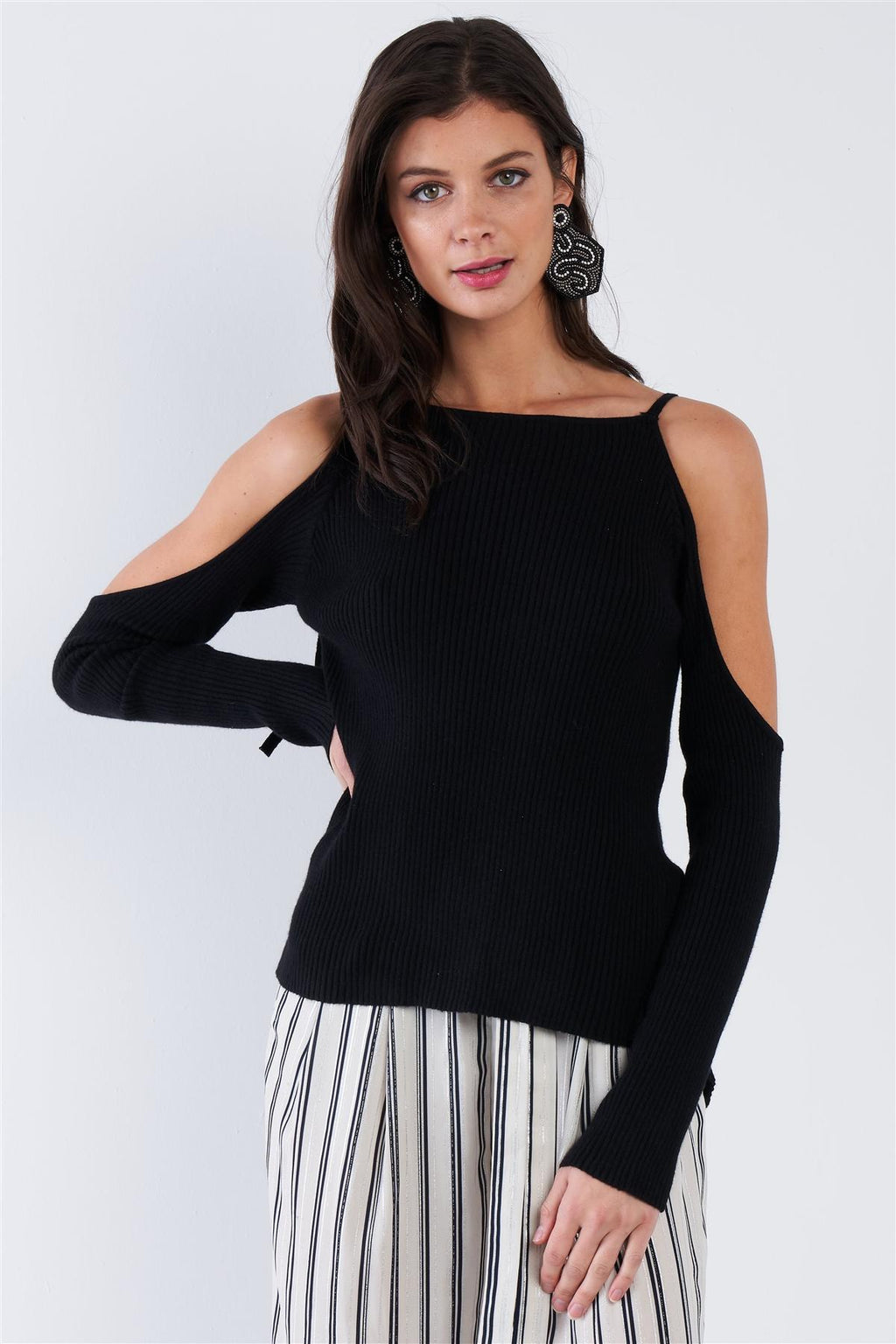 Black Ribbed Off The Shoulder Open Back Causal Top