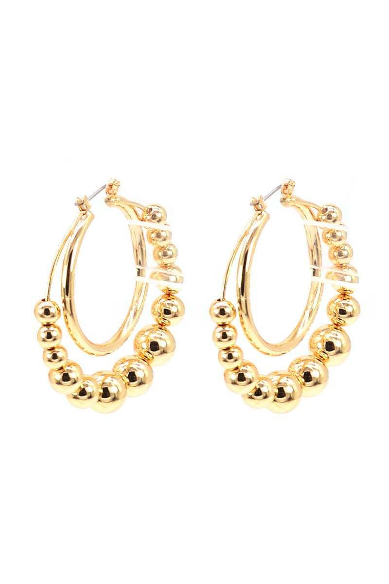 Metal Balls Double Ring Hoop Earring