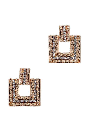 Square Studded Stone Metal Earring
