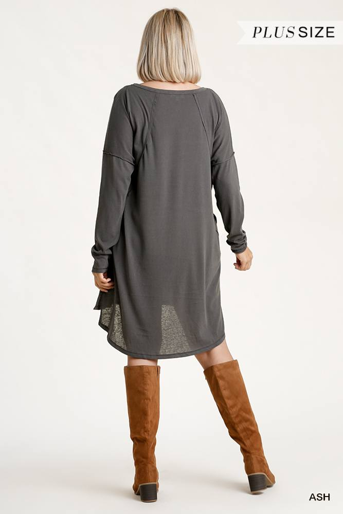 Long Raglan Sleeve Round Neck Raw Edged Detail Dress With Side Slits And Pockets