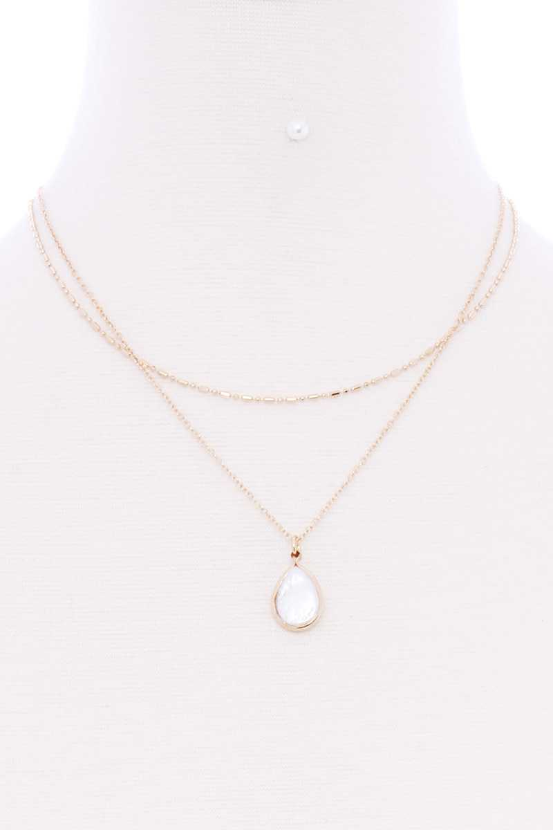 2 Layered Teardrop Pendant Multi Metal Necklace