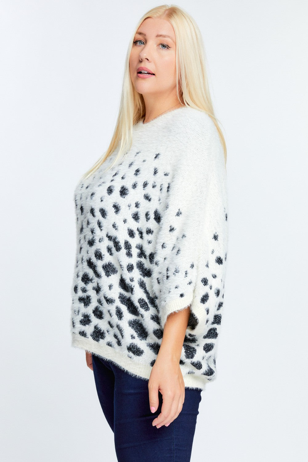Printed Round Neck Loose Sweater