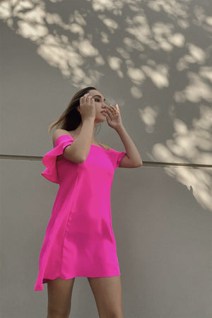 Hot Pink Cold Shoulder Ruffle Mini Shift Dress