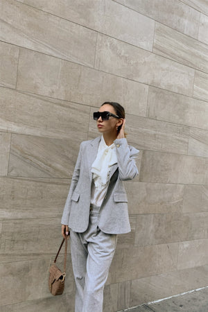Grey Wool Blazer Office Chic Pleated High-waist Ankle Pant Set