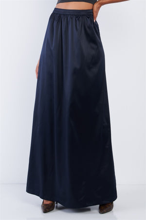 Solid Navy Blue Satin High Waist Flowing Maxi Skirt
