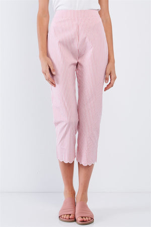 Red & White Striped High Waist Scalloped Hem Summer Capri Pants