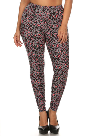 Plus Size Cheetah Printed Knit Legging With Elastic Waistband, And High Waist Fit.