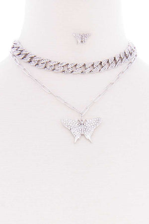 Rhinestone Studded Link Chain With Butterfly Pendant Necklace Earring Set