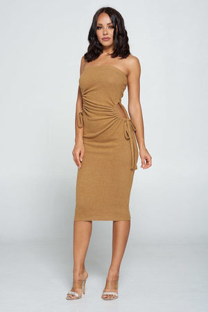 Strapless Solid Color Bodycon Dress