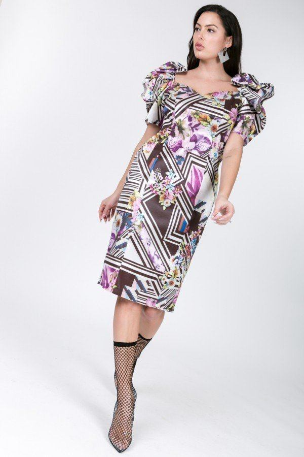 Puff Sleeve Bodycon Print Dress