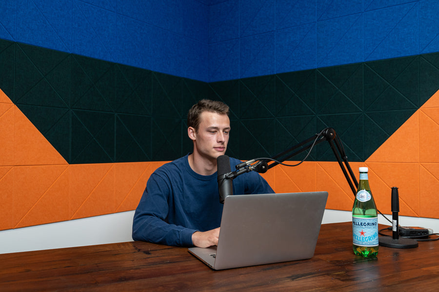 Podcast Wall Blue Green Orange Felt Right Design