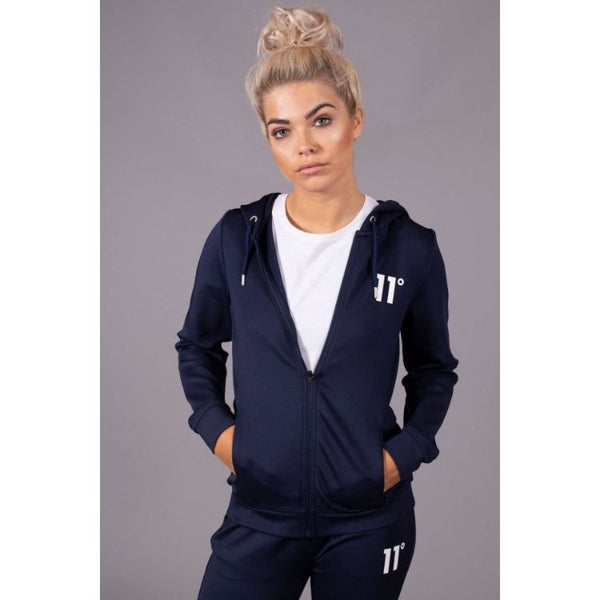11 D Women Full Zip Poly Track Top With Hood - Blue