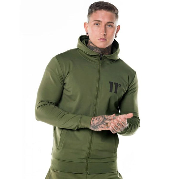 11 D Core Full Zip Poly Track Top With Hood - Olive