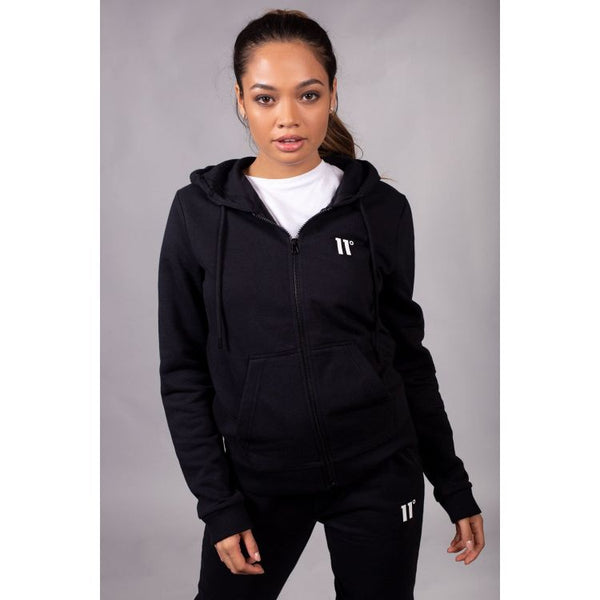 11 D Women Full Zip Poly Track Top With Hood - Black