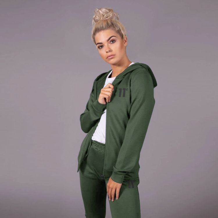 11 D Women Full Zip Poly Track Top With Hood - Olive