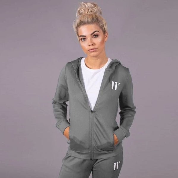 11 D Women Full Zip Poly Track Top With Hood - Steel
