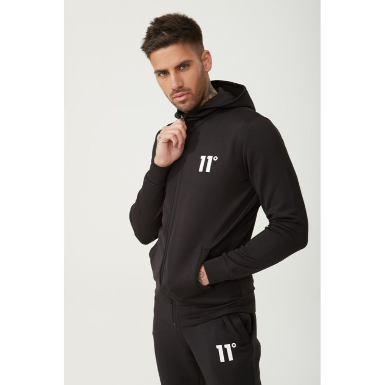 11 D Core Full Zip Poly Track Top With Hood - Black