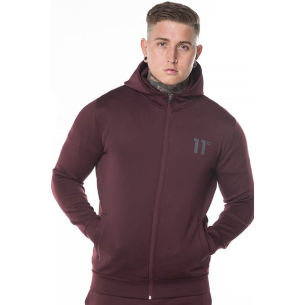 11 D Core Full Zip Poly Track Top With Hood - Vineyard