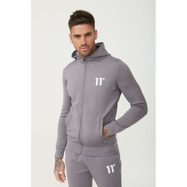 11 D Core Full Zip Poly Track Top With Hood - Steel