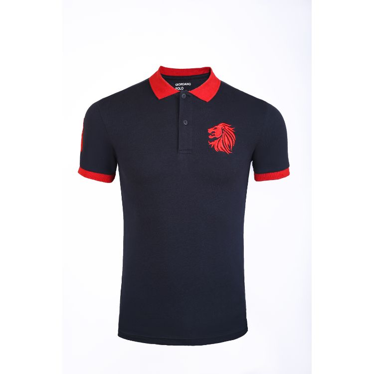 Gdno Navy Contrast Collar Polo Shirt