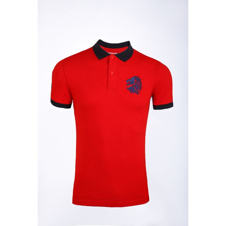 Gdno Dark Red Contrast Collar Polo Shirt