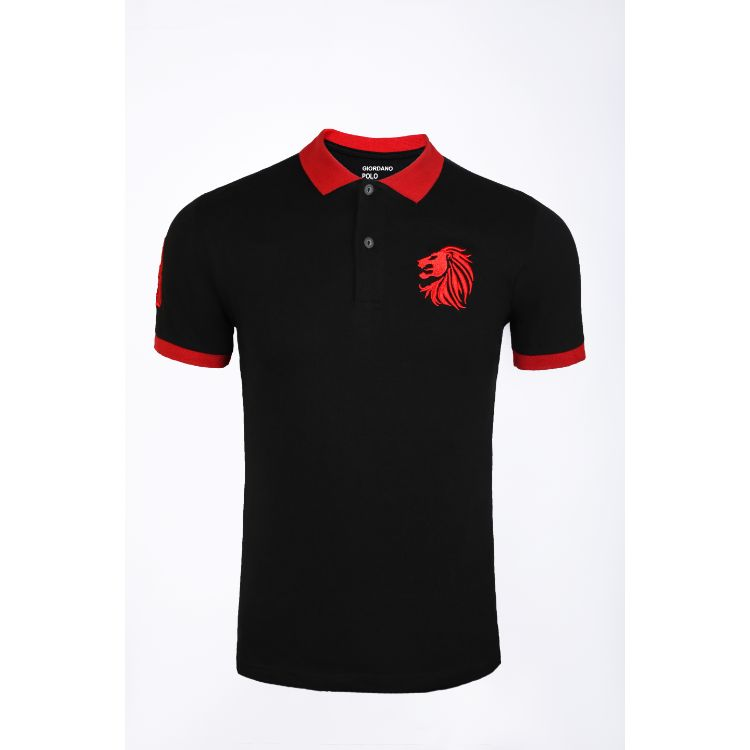Gdno Black Contrast Collar Polo Shirt
