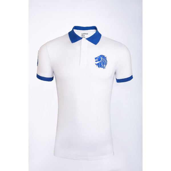 Gdno White Contrast Collar Polo Shirt
