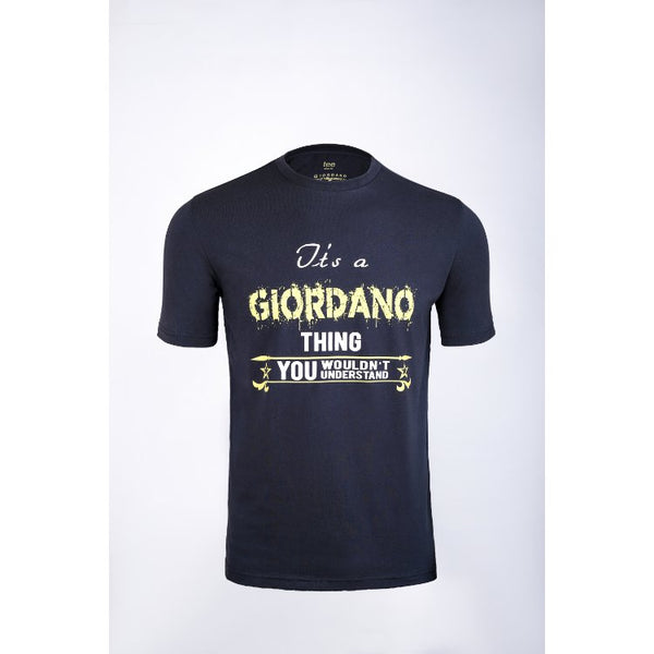 Gdno Printed Navy Blue Crew Neck T-Shirt