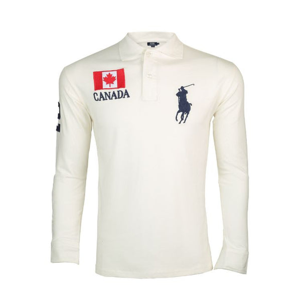 RL Long Sleeves Polo Shirt White Canada