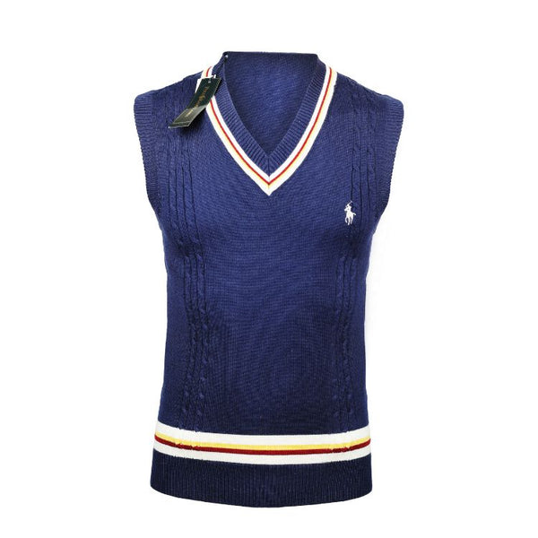 RL V Neck Sleeveless Sweater Navy