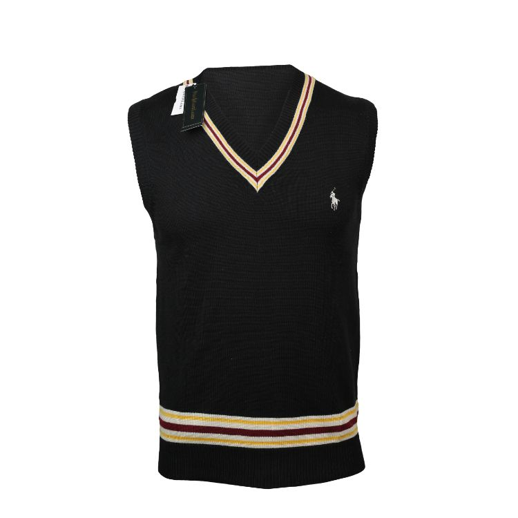 RL V Neck Sleeveless Sweater Black