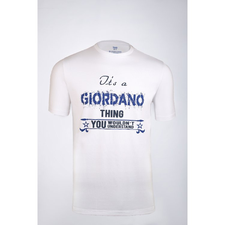 Gdno Printed White Crew Neck T-Shirt