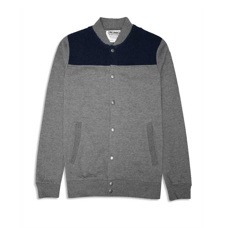 Jk & Jns Button Down Sweater - Grey and Navy