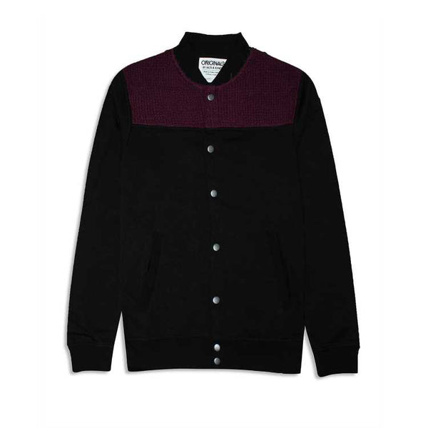 Jk & Jns Button Down Sweater - Black and Maroon