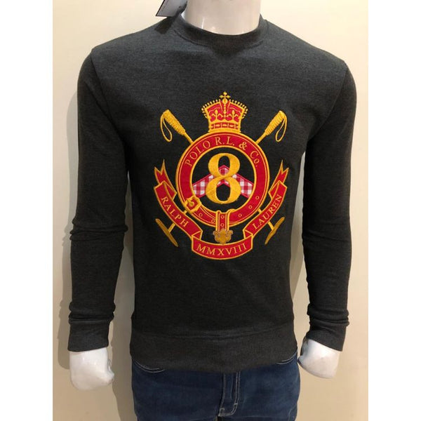 RL EMBROIDERED 8 CREST COTTON JERSEY SWEATSHIRT CHARCOAL