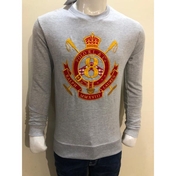 RL EMBROIDERED 8 CREST COTTON JERSEY SWEATSHIRT GREY